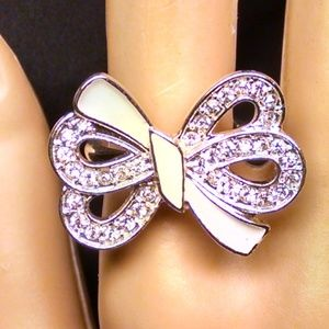 Bow Enamel Multi Rhinestones Sexy Stylish Ring